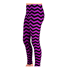 Purple and Black Chevron Leggings #LGP-534