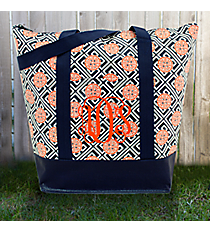 Navy and Orange Lucky Girl Tag-a-Long Tote #LG-TG-000288