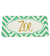 Mint Green and White Chevron Print Metal License Plate with Center Scalloped Oval #LP-4511