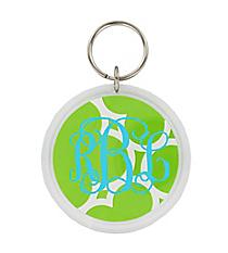 Lime Quatrefoil Round Acrylic Key Tag #991