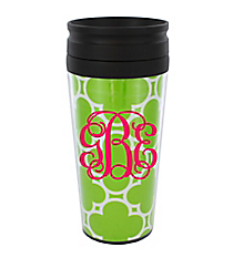 Lime Green Quatrefoil 14 oz. Travel Tumbler with Black Lid #WLCM338PP-CL-U