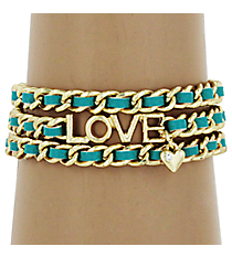 Green and Goldtone Love Wrap Around Bracelet #YJB1171-GDMN