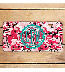 Pink Army Camo Metal License Plate #LP-2273
