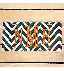 Brushed Dark Green and White Chevron Print Metal License Plate #LP-7054