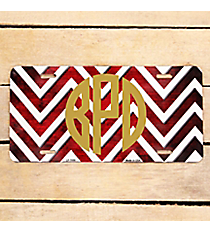 Brushed Red and White Chevron Print Metal License Plate #LP-7058