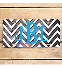 Brushed Gray and White Chevron Print Metal License Plate #LP-7059