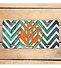 Brushed Mint and White Chevron Print Metal License Plate #LP-7066