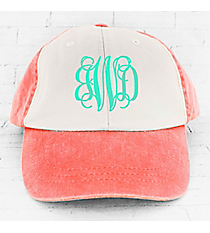 Coral and Ivory Colorblock Cap #LP106