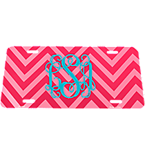 Hot Pink and Pink Chevron Print Metal License Plate #LP-4951
