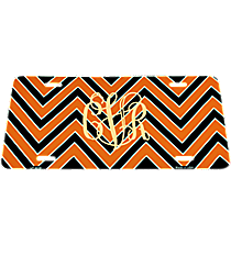 Orange and Black Chevron Print Metal License Plate #LP-5036