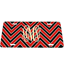 Red and Black Chevron Print Metal License Plate #LP-5037