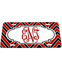 Red and Black Chevron Print Metal License Plate with Center Scalloped Oval #LP-5068