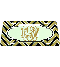 Black and Gold Chevron Print Metal License Plate with Center Scalloped Oval #LP-5075