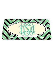 Mint and Black Chevron Print Metal License Plate with Center Scalloped Oval #LP-5076