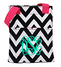 Black and White Chevron with Pink Trim Insulated Lunch Tote #LT11-1324B-P