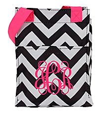 Black and Gray Chevron with Pink Trim Insulated Lunch Tote #LT11-1324-P