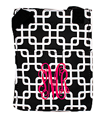 Black and White Overlapping Squares Insulated Lunch Tote #LT11-1333