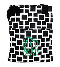 Black and White Connecting Squares Insulated Lunch Tote #LT11-1334-1