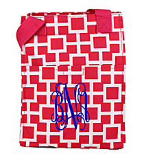 Pink and White Connecting Squares Insulated Lunch Tote #LT11-1334-2