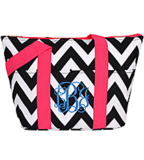 Black and White Chevron with Pink Trim Insulated Lunch Bag #LT15-1324B-P