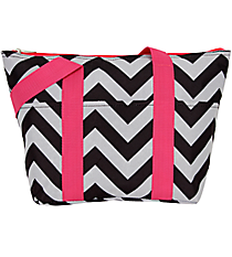 Black and Gray Chevron with Pink Trim Insulated Lunch Bag #LT15-1324-P