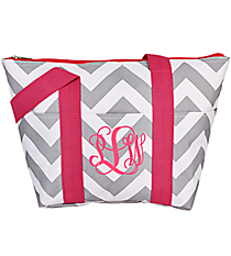 Gray and White Chevron with Pink Trim Insulated Lunch Bag #LT15-1325-P