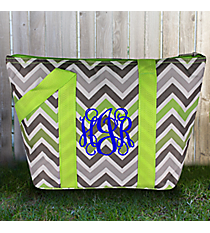 Green and Gray Chevron Insulated Lunch Bag #LT15-1326