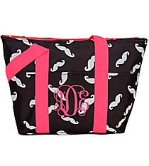 Black and Gray Mustache with Pink Trim Insulated Lunch Bag #LT15-1329-P
