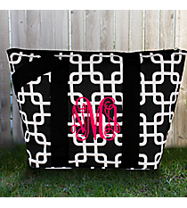 Black and White Overlapping Squares Insulated Lunch Bag #LT15-1333