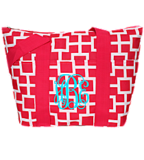 Pink and White Connecting Squares Insulated Lunch Bag #LT15-1334-2
