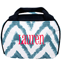 Blue Airbrushed Chevron Bowler Style Insulated Lunch Bag #LT9-1330-1