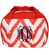 Red Airbrushed Chevron Bowler Style Insulated Lunch Bag #LT9-1330-2