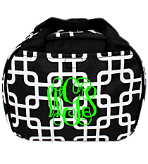 Black and White Overlapping Squares Bowler Style Insulated Lunch Bag #LT9-1333