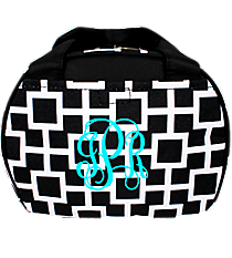 Black and White Connecting Squares Bowler Style Insulated Lunch Bag #LT9-1334-1