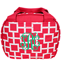 Pink and White Connecting Squares Bowler Style Insulated Lunch Bag #LT9-1334-2