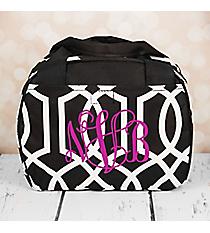 Black Trellis Bowler Style Insulated Lunch Bag #LT9-1349-BK