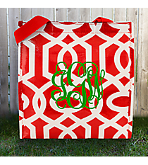 Red and White Lattice Power Lunch Tote #LT-PL-029538