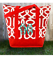Red and White Lattice Tag-a-Long Tote #LT-TG-000370
