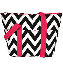 Black Chevron with Pink Trim Insulated Lunch Bag #C15-601-BW-P