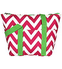 Pink Chevron with Green Trim Insulated Lunch Bag #C15-601-P-G