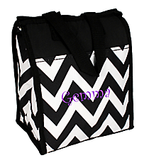 Black Chevron Insulated Lunch Tote #CC18-601-BW