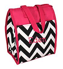 Black Chevron with Pink Trim Insulated Lunch Tote #CC18-601-BW-P