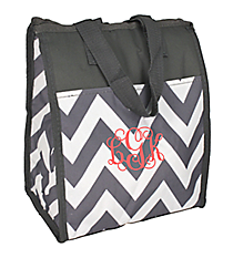 Gray Chevron Insulated Lunch Tote #CC18-601-GRAY