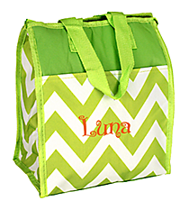 Light Green Chevron Insulated Lunch Tote #CC18-601-LG