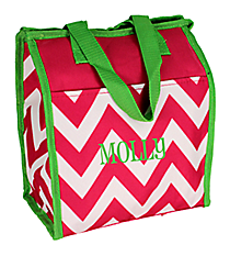 Pink Chevron with Green Trim Insulated Lunch Tote #CC18-601-P-G