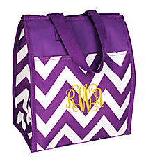Dark Purple Chevron Insulated Lunch Tote #CC18-601-Z