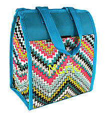 Blue Dotted Chevron Insulated Lunch Tote #CC18-1501-L