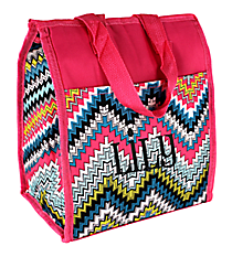 Pink Dotted Chevron Insulated Lunch Tote #CC18-1501-P
