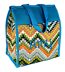 Green Dotted Chevron Insulated Lunch Tote #CC18-1503-L