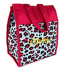 Blue and Pink Leopard Insulated Lunch Tote #CC18-510